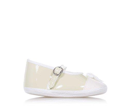 BABY VIP - Ballerine de berceau beige en cuir artificiel et tissu, extrêmement confortable et flexible, elle garantit la complète liberté du petit pied, bébé fille