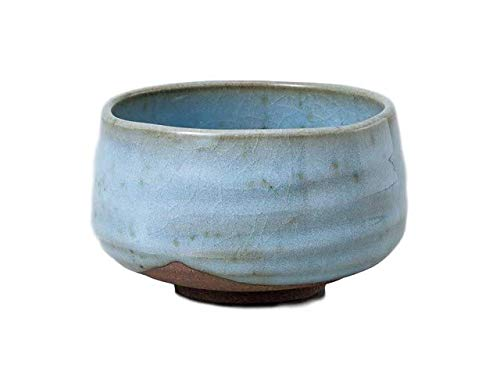 Matcha bowl 4.53''dia. Japanese tea cup for tea ceremony, Authentic Mino Ware Pottery, Chawan, Sky blue KG776405 by Mino Ware