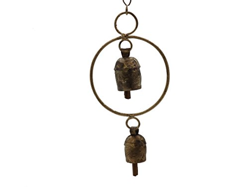 Circle Garden Bell - Handcrafted Hanging Wind Noisemaker Ornament with Nana Bell - Circle