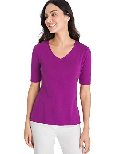 Chico's Women's Supima Cotton V-Neck Tee Size 8/10 M (1) Purple