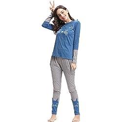 Pajamas de Manga Larga y Pantalones de algodón para Mujer, diseño de Gato, Azul, XL