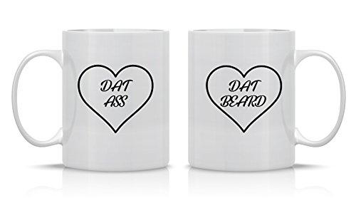 - I Love Dat Ass, I Love Dat Beard - 11 OZ Coffee Mugs - Funny Couple Mug - Perfect anniversary Gift - CrazWear Mugs