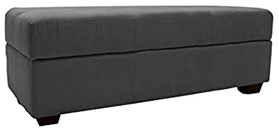 Epic Furnishings Microfiber Suede Upholstered Tufted Padded Hinged Storage Ottoman Bench