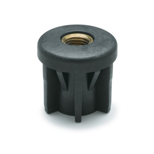 JW Winco 448D2D1876T Series EN 448R Plastic Black Round Type Threaded Tube End with Molded-in Insert, 3/8-16 Thread Size, 1.50