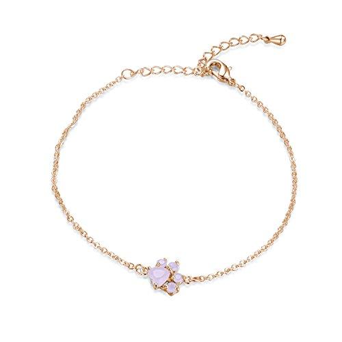 sedmart Rose Gold Plated Dog Cat Paw Bracelet Pink Crystal Charm Bangle Bracelets Fashion Jewelry Gifts for Women Girls Animal Pet Lovers