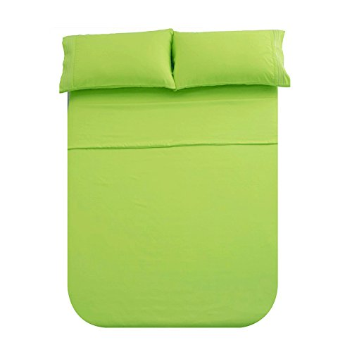 Honeymoon 1800 Brushed Microfiber Embroidered Bed Sheet Set, Ultra Soft, Queen - Lime Green Lime Green Sheet Set