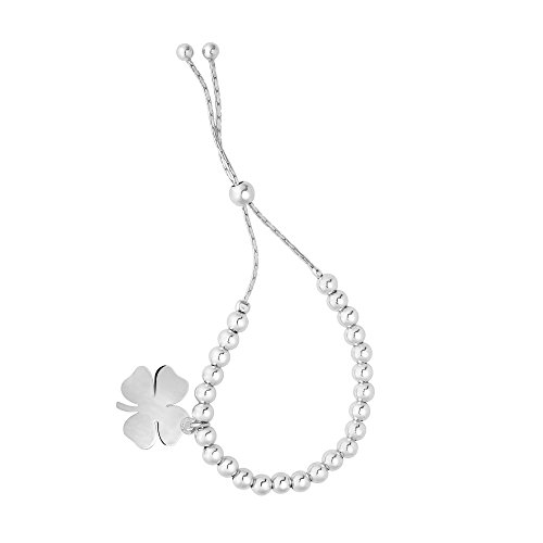 MCS Jewelry Sterling Silver Beads & Four Leaf Clover Charm Bolo Bracelet, Adjustable (9 1/4) ()