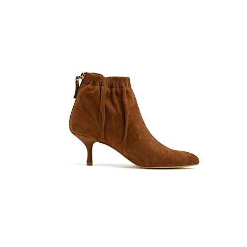 Mid Gianni Back Sexy Toe Womens for amp; Booties Boot Autumn Ladies Zipper Winter Ankle Leather Pointed Brown Comfortable Darco Short Kitten Heel Boots P6q8f5w5x