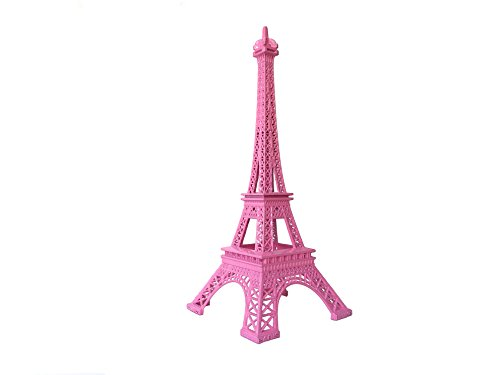 Wgg 9.8 Inch Metal Eiffel Tower for Cake Topper Craft Mold Desk Decor Home Decoration (Pink)