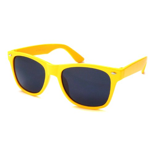 KIDS Childrens Retro Style Neon Color CUTE Sunglasses YELLOW (Age - Glasses Really Cute