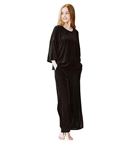 Donna Pantaloni Pezzi Lunghi Rilassato Comodo Inverno Lunga Marrone E 2 Pigiama Manica Autunno a1vEEq