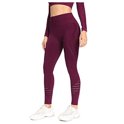 Pantalones De CháNdal De Secado RáPido para Mujer Pantalones De Yoga Sin Costuras Ajustados con Cintura Alta Y Levantamiento De Cadera(Rojo,M)