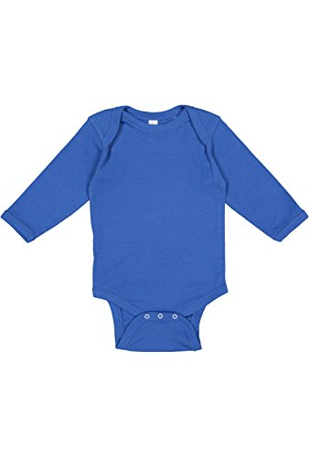 Rabbit Skins Infant 100% Cotton Lap Shoulder Long Sleeve Bodysuit (Royal, 6 Months)