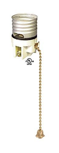 B&P Lamp Porcelain Pull-Chain Socket Interior, Antique Brass Chain