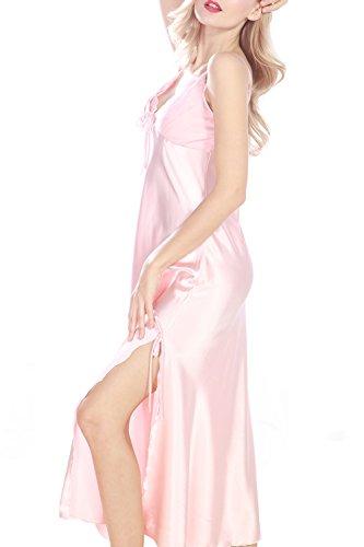 Women's Satin Nightgown Long Slip Sleeveless Sleepwear Night Dress Sexy Night Wear For Women (Pink,XL) (Silky Satin Dress)