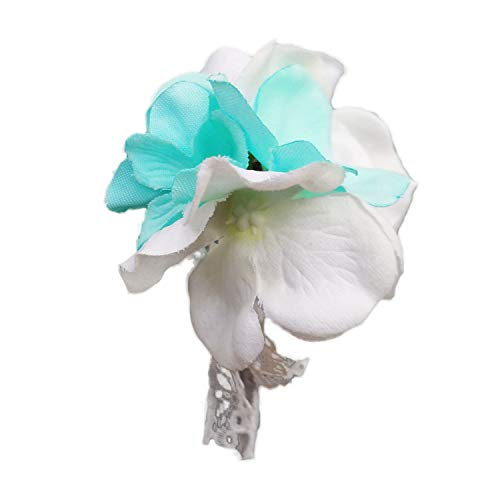 Lily Garden Artificial Wedding Flower Set Turquoise Picasso Calla Lily with Silk Carnation and Hydrangea (Boys Boutonniere Hydrangea) (Corsage Carnation Mini)
