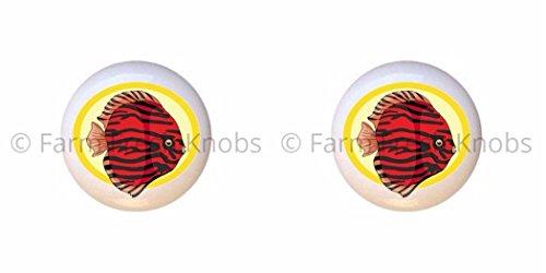 SET OF 2 KNOBS - Fish Design #56 - Fish Various - DECORATIVE Glossy CERAMIC Cupboard Cabinet PULLS Dresser Drawer KNOBS ()