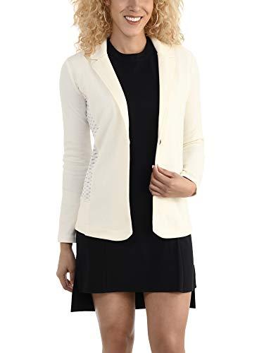 Casual Work Soft Stretch Long Sleeve Women's Blazer, Ivory, X-Large