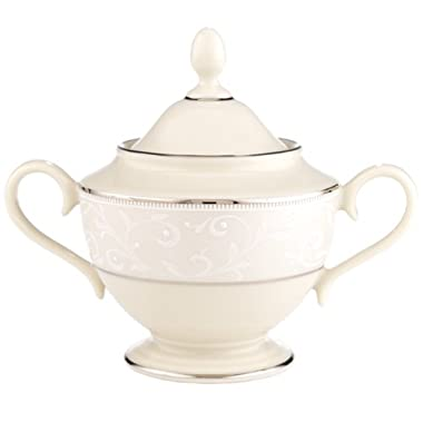 Lenox Pearl Innocence Platinum-Banded Fine China Sugar Bowl