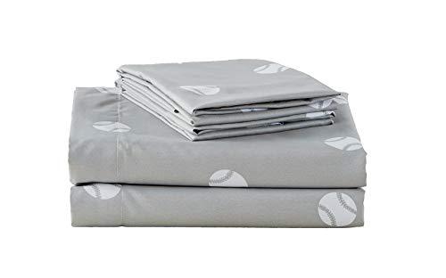 Chezmoi Collection 3-Piece Kids/Teens Sports Sheet Set - Soft Microfiber Gray White Baseball, Twin Size