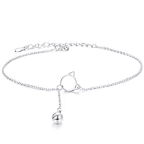 Sllaiss 925 Sterling Silver Cute Cat Bell Anklets for Women Dainty Beach Ankle Chain Boho Foot Jewelry for Mother's Day Girlfriend