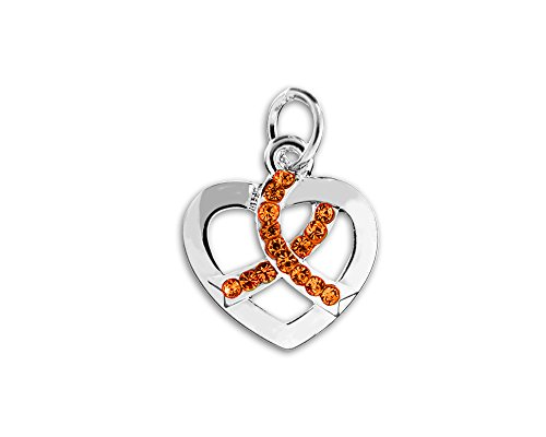 Crystal Heart Ribbon - Crystal Orange Ribbon Heart Charms (Wholesale Pack - 25 Charms)