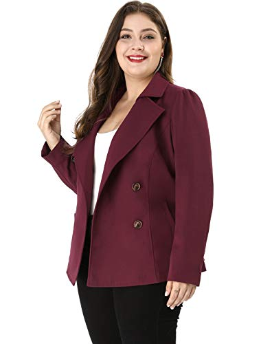 Agnes Orinda Women's Plus Size Casual Blazer Double-Breasted Tie Waist Trench Coat 2X Wine Red