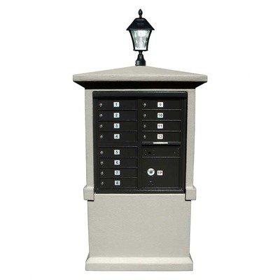 Qualarc EVMC-TALL-SS-SL Eastview Stucco CBU Mailbox Center Column, Tall Pedestal with Bayview Solar Lamp, Sandstone Color ()