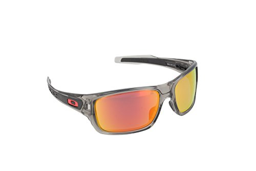Oakley Men's OO9263 Turbine Rectangular Sunglasses, Grey Ink/Ruby Iridium Polarized, 65 ()