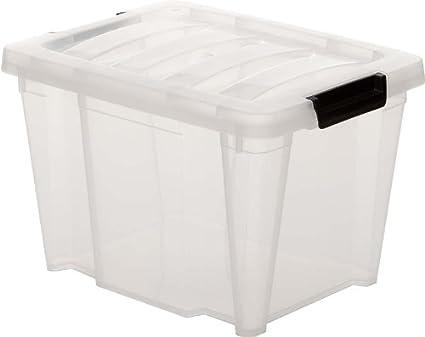 Caja de almacenamiento, caja de almacenaje, caja con asas, caja plastico Transparente,