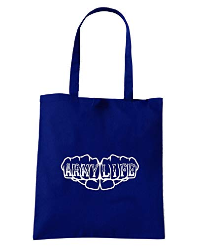 Blu KNUCKLES TATTOO Navy LIFE Speed Borsa Shirt FIST ARMY FUN0637 Shopper tZfOzTwxq