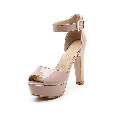 LvYuan Mujer-Tacón Robusto-Zapatos del club-Sandalias-Boda Oficina y Trabajo Vestido-Cuero Patentado PU-Negro Rojo Blanco Almendra White