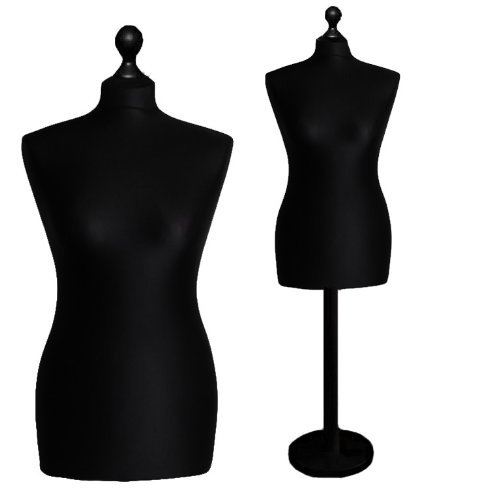 LUK-MAL Female Tailors Dummy Size 18/20 black/black Dressmakers Fashion Mannequin Display Bust Round Stand by LUK-MAL