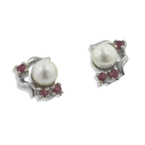 Studs with Genuine Ruby and Freshwater Pearl Sterling Silver Earrings Platinum Plated (Tarnish Free)