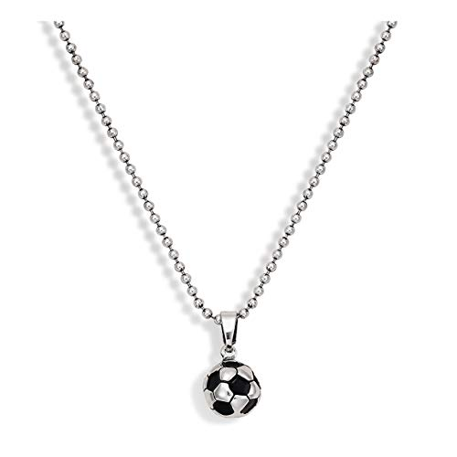 boderier Soccer Ball Necklace 3D Football Futbol Charm Pendant Necklace Sports Jewelry for Men Women (Silver)