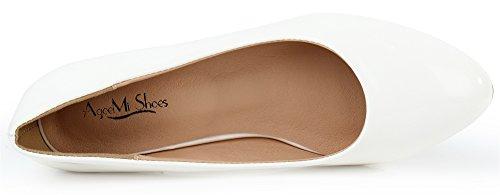 Bianco Scarpe Shoes Donna Col Dècolletè Punta Basso Scarpe A AgeeMi Tacco Scarpe 1pCqa