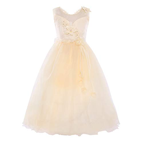 Kids Mesh Ball Gown Dress First Communion Party Dress,Champagne,Child-7