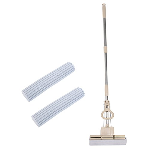 Sponge Mop Replacement Head (Finether PVA Sponge Mop Scrub Roller with One Replacement Sponge Mop Head Refill Double Rollers Telescoping Stainless Steel Handle for Hardwood Floor Ceramic-Tile Floor Marble Floor Glass Surface)