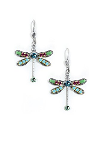Clara Beau Multicolor Spring Medium DragonFly Swarovski crystal SilverTone Dangle Earrings (Homemade Insect Costumes)
