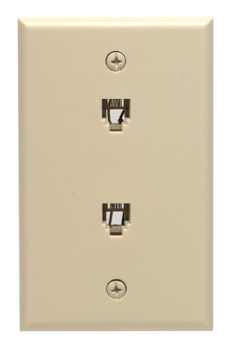 Leviton C0254-I Duplex Flush Mount Phone Jack Wall plate, Ivory