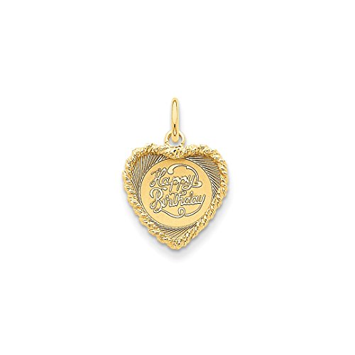 14k Yellow Gold Happy Birthday Heart Disc Pendant Charm Necklace Special Day Fine Jewelry For Women Gift Set