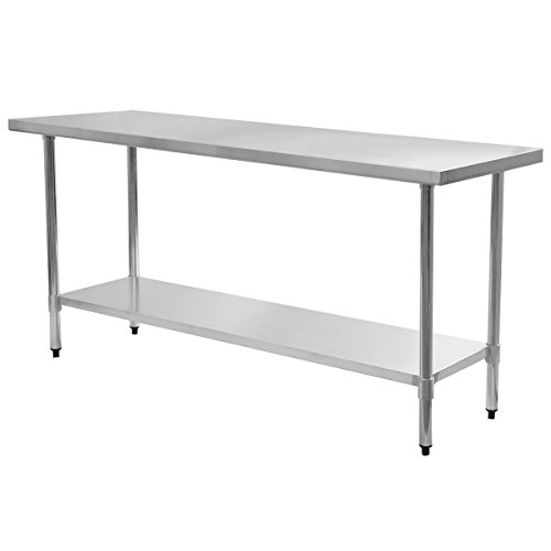 24'' x 72'' Stainless Steel Work Prep Table Commercial Kitchen Restaurant Galvanized Legs With Adjustable Feet, Eliminates Wobble On Uneven Floors by Unknown
