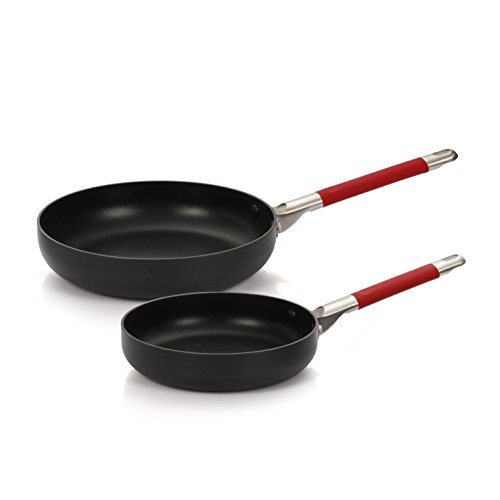 Finnhomy Hard-Anodized Aluminum Nonstick Fry Pan/ Saute Pan Set, Dishwasher Safe Double Nonstick Coating PTFE PFOA Free Cookware Set, 2-Piece for Home Restaurant, Red