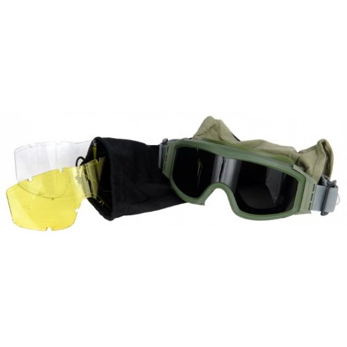 Lancer Tactical CA-203G Safety Airsoft Goggles w/ Interchangeable Multi Lens Kit (OD Green), Includes Smoked, Clear, & Yellow Lens by Lancer Tactical