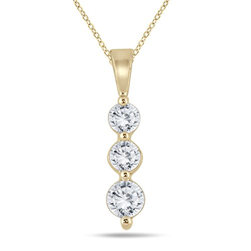 Yellow Gold Three Color - AGS Certified 1/2 Carat TW Three Stone Diamond Pendant in 10K Yellow Gold (K-L Color, I2-I3 Clarity)
