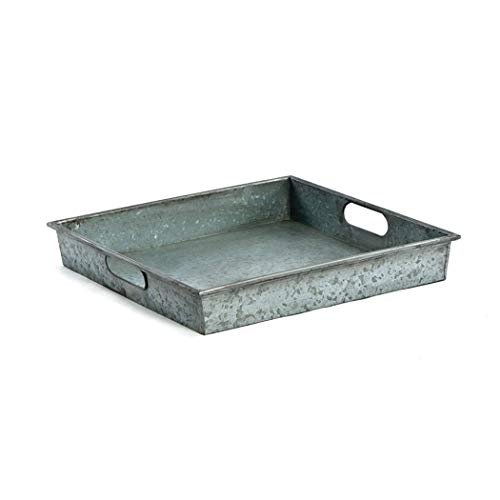 Décor Square Galvanized Metal Tray with Handle, ()