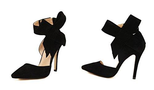 YCMDM signore delle donne scarpe Paste-tacco alto scarpe sandali moda scarpe singolo primavera-estate , black , 35