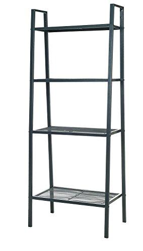 HollyHOME 4-Tier Storage Shelf, Bookcase Shelving, Ladder-Style Plant Rack, Gray (Style Shelf 4 Bookcase)
