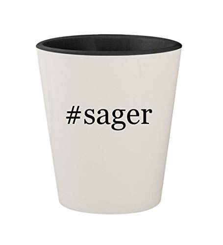 Price comparison product image sager - Ceramic Hashtag White Outer & Black Inner 1.5oz Shot Glass