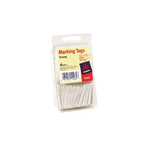 (Avery White Marking Tags, Strung, 1.75 x 1.093 Inches, Pack of 100 (11062))